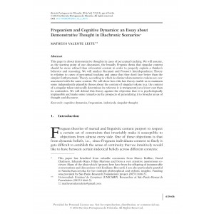 Fregeanism and Cognitive Dynamics: An Essay about Demonstrative Thought in Diachronic Scenarios