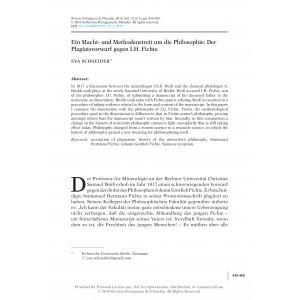 Ein Macht- und Methodenstreit um die Philosophie: Der Plagiatsvorwurf gegen I.H. Fichte