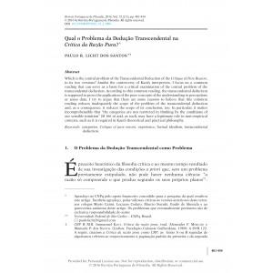 Qual o Problema da Dedução Transcendental na Crítica da Razão Pura?