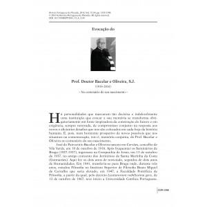 Evocação do Prof. Doutor Bacelar e Oliveira, S.J. (1916-1999)