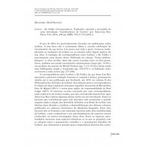 Recensão: Leibniz – De Volder. Correspondance