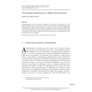 A Construção da Democracia e o Reforço do Laço Social