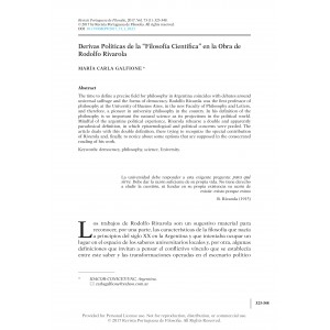 """Derivas Políticas de la """"Filosofía Científica"""" en la Obra de Rodolfo Rivarola"""