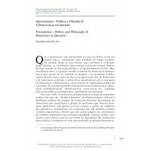 Apresentação. Política e Filosofia II: A Democracia em Questão